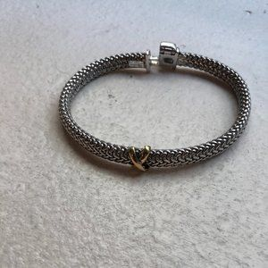 Silver Bracelet with Gold Criss-Cross detail